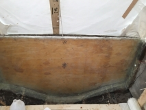 Transom tabbed and laminated in
